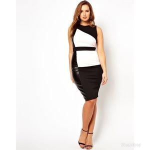 ASOS Curve Color Block Leather Panel Sheath Dress